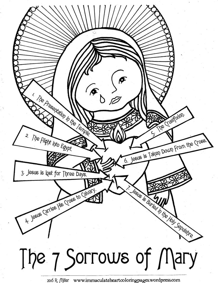 Feast Day: Our Lady of Sorrows, September 15th: Seven Sorrows of Mary Coloring Page from Immaculate Heart Coloring Pages Blog © 2016 R Miller