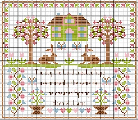 cross stitch tree house rabbit The day the lord created hope was probably the day he created spring.