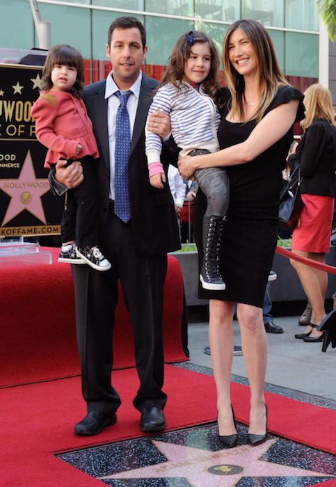 Adam Sandler with wife Jackie Sandler and two children...