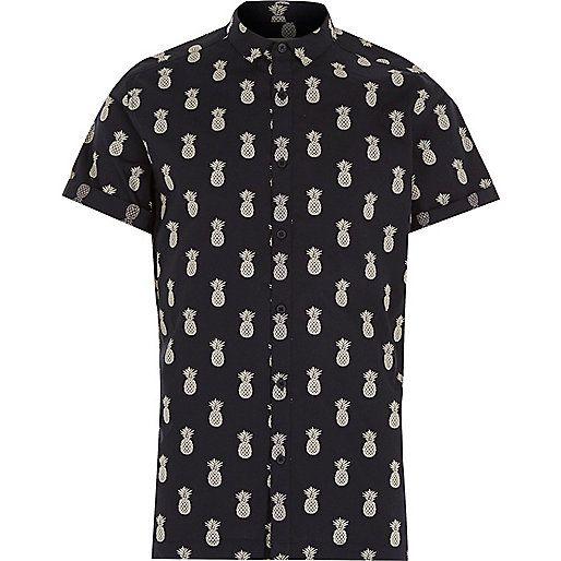 Navy pineapple print short sleeve shirt - short sleeve shirts - shirts - men