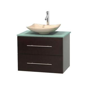 Wyndham Collection Centra 30 in. Vanity in Espresso with Glass Vanity Top in Green and Bone Porcelain Sink-WCVW00930SESGGD2BMXX - The Home Depot