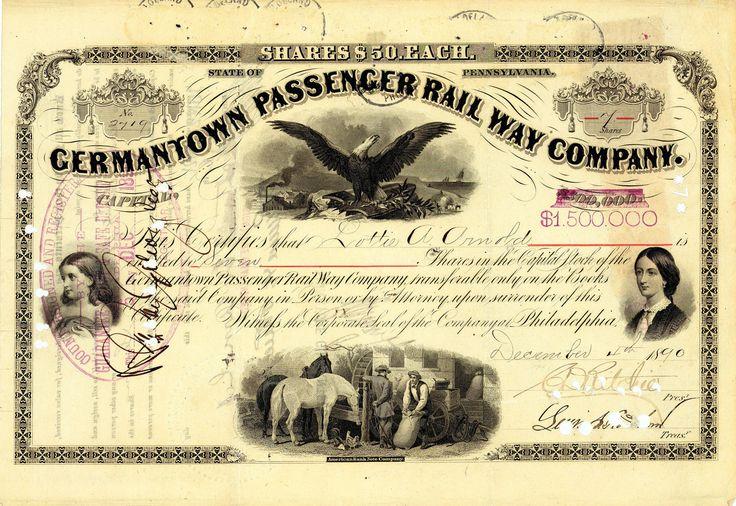 Germantown Passenger Railway, Philadelphia, Aktie von 1890 + HOCHDEKORATIV!