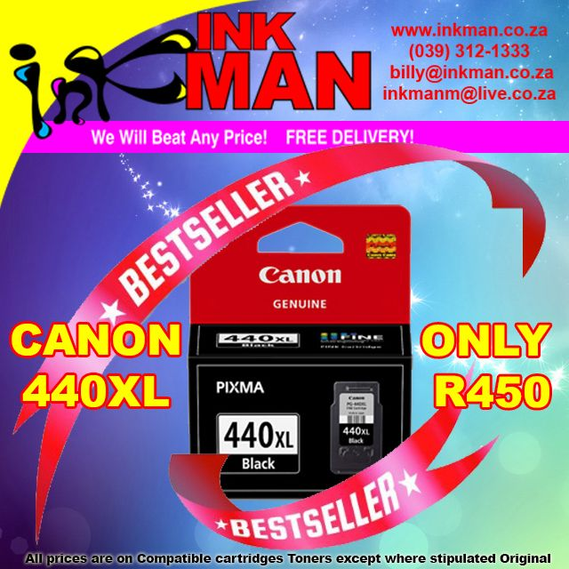 #Canon 440XL #UNBEATABLE #PRICE! ONLY R450 #INKman #Margate #Print http://bit.ly/1NbhaCV