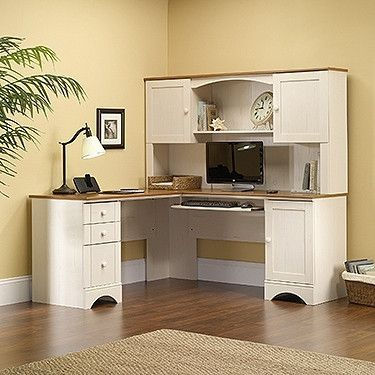 White Antiqued L-shaped Corner Desk with Included Hutch – OfficeDesk.com