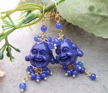Resin Carvd Buddha&Jade Earrings free shipment