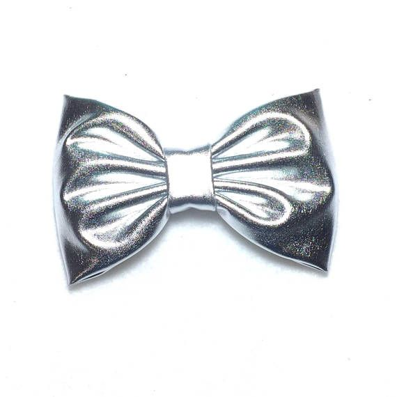 Silver Bow Silver Hair Clip Silver Hair Bow Girls Bows