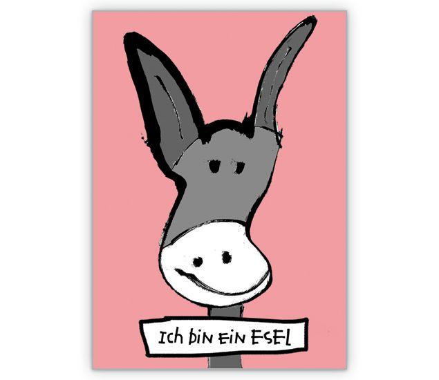 Selbsterkenntnis Karte mit süßem Esel - http://www.1agrusskarten.de/shop/selbsterkenntnis-karte-mit-susem-esel/ 00015_0_915, Comic, Entschuldigung, Esel, Grußkarte, Klappkarte, Sorry, Tiere00015_0_915, Comic, Entschuldigung, Esel, Grußkarte, Klappkarte, Sorry, Tiere