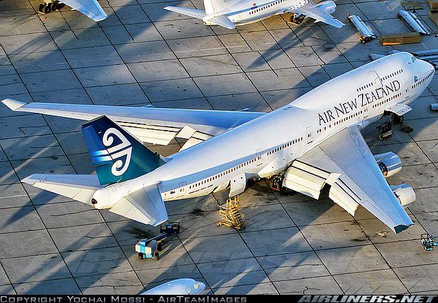 Air New Zealand Boeing 747-475 with cargo doors open