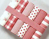San Valentín corazones y rosas rojo grasa cuarto tela paquete - 100% algodón - regalos románticos corazones empavesado decoración juguete de la muñeca de patchwork quilt