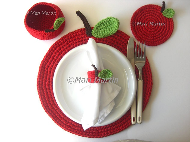 Red Apple Crochet Placemat