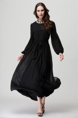 Women-Kaftan-Abaya-Islamic-Muslim-Chiffon-Bowknot-Long-Sleeve-Loose-Maxi-Dress