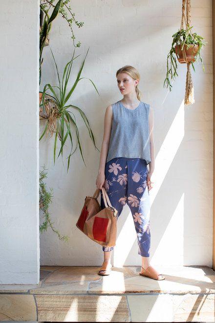 Fold Pants - Blue Rose