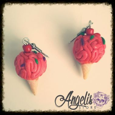 Handmade Polymer Clay Brain Ice Cream Earrings