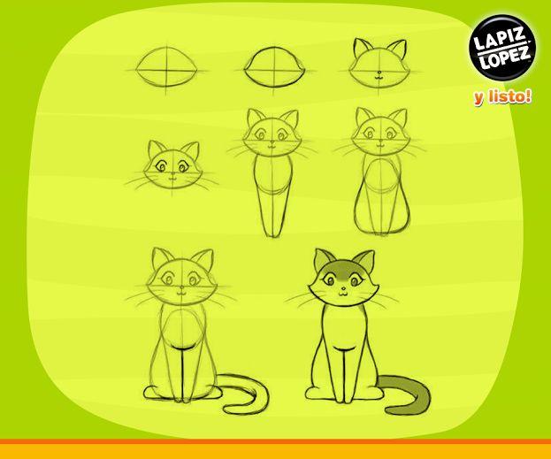 Sigue el paso a paso de este dibujo y podrás realizar este lindo gato. Solo debes utilizar tus lápices Lápiz López. =)