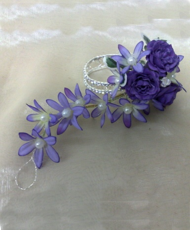Wrist Corsage with purple and lilac trailing corsage