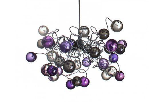 Bolle trasparenti lampada a soffitto con viola, grigio e bolle di colore chiaro per i bambini in camera, sala, bagno.