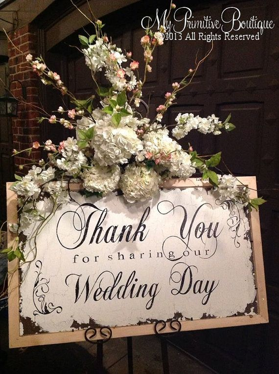 VINTAGE THANK YOU Sign, Wedding Sign, Cottage Wedding, Thank for sharing our Wedding Day, 9 x 19