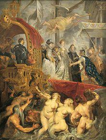 Rubens, Maria de Medici landt te Marseille,    Gemaakt: ±1620, gemaakt in: Zuidelijke Nederlanden. In dit schilderij zie je vooral dat geprobeerd is ruimte te creëren door middel van overlapping en door meer schaduw in de achtergrond te hebben wordt gesuggereerd dat het nog verder doorgaat. Mij viel in dit schilderij vooral de overlapping op waardoor het er echter uit ziet.