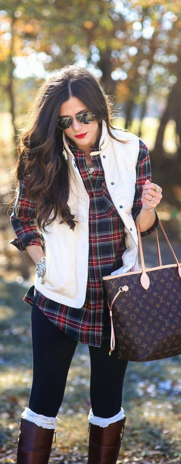 Ways to Style Leggings! Play up your favorite plaid and vest combos over your leggings! Finish off your look with some great riding boots (don't forget the boot socks!) and dainty jewelry to be ready for whatever comes your way! Would you wear this look this season?