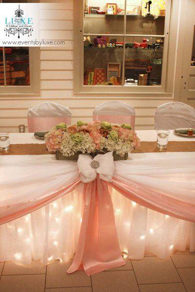 Soft pink and green wedding head table, wedding flower box, pink wedding head table decor, wedding head table with lights, pastel wedding decor