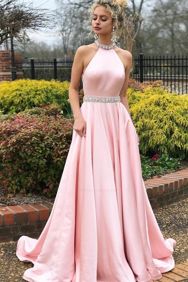 f82d7eea73 Prom Dress Pink, Open Back Prom Dress, Sleeveless Prom Dress, Prom Dress A