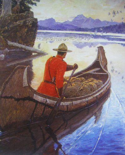Canadian Mountie RCMP Canoe Sunrise | eBay