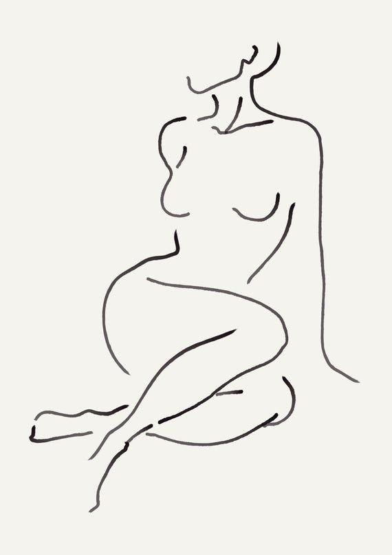 Minimalistic nude print | figure print nude female line art minimal female print female one line naked | 24×36 20×30 18×27 14×20 11×17 – jabal Thoriq