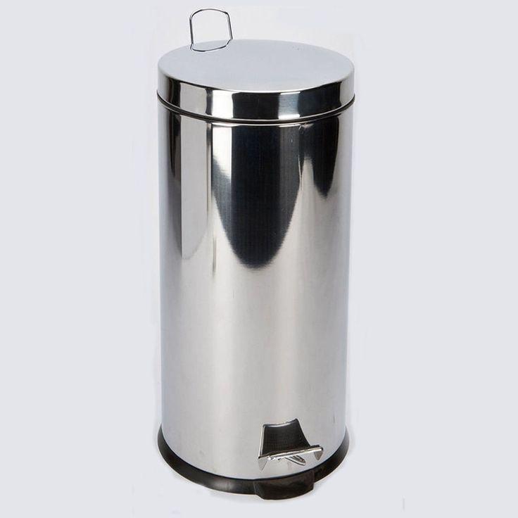 30 Litre Stainless Steel Silver Pedal Bin Kitchen Garden Rubbish Waste Dustbin Highlands