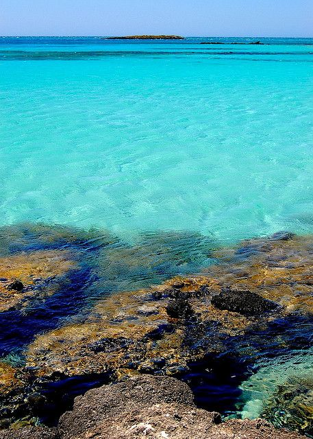 The turquoise waters of Elafonisi on the west coast of Crete, Greece By Peace Correspondent via Flickr