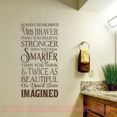 remember you are braver twice as beautiful vinyl stickers wall decals wall art