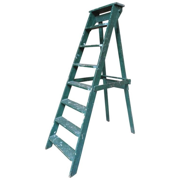 1900s French Vintage Green Fruit Picking / Painting Ladder Great Shop Display | From a unique collection of antique and modern home accents at https://www.1stdibs.com/furniture/more-furniture-collectibles/home-accents/