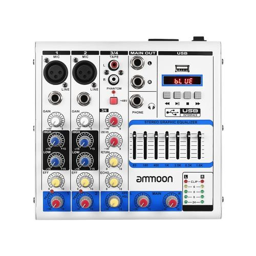 Shop for best white eu ammoon Compact Size 4-Channel Digital Audio Mixer Mixing Console from Tomtop.com at fast shipping. Various discounts are waiting for you!