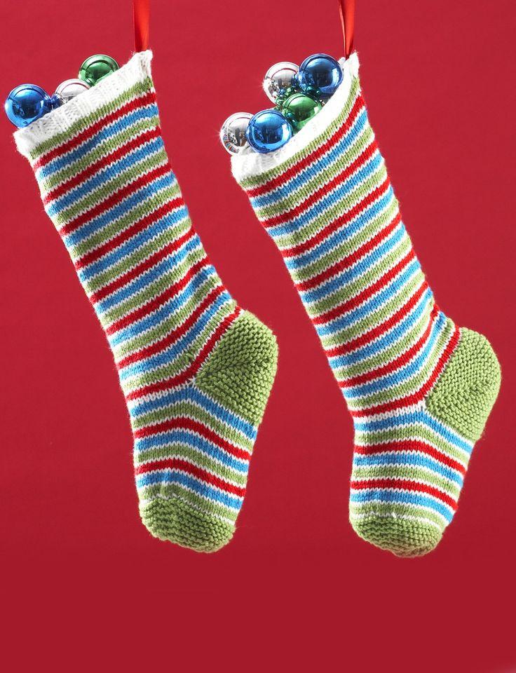 Knitting Pattern Striped Christmas Stocking : Yarnspirations.com - Bernat Jolly Striped Knit Stockings Yarnspirations C...