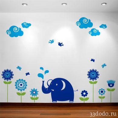 Наклейка для детской комнаты в виде слона, цветов и птичек