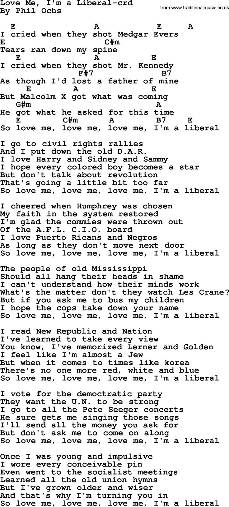 99 best phil ochs chords images on pinterest pdf lyrics and phil ochs songs love me im a liberal lyrics chords and pdf for printing hexwebz Gallery