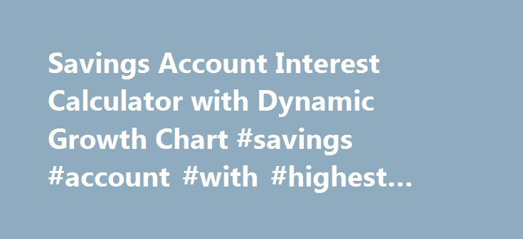 Savings Account Interest Calculator with Dynamic Growth Chart #savings #account #with #highest #interest http://uganda.nef2.com/savings-account-interest-calculator-with-dynamic-growth-chart-savings-account-with-highest-interest/  # Savings Account Interest CalculatorWith Compound Interest Calculation Help you to forecast the future compound interest earnings on your regular saving account deposits. This free online Savings Account Interest Calculator will calculate the compound interest…
