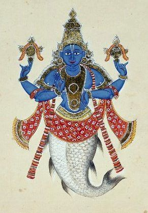 "Matsya (Sanskrit: मत्स्य, literally ""Fish"") is the avatar of the Hindu god Vishnu in the form of a fish, preceding Kurma. Often listed as the first avatar in the lists of the ten primary avatars of Vishnu, Matsya is described to have rescued the first man, Manu, from a great deluge. Matsya may be depicted as a giant fish, or anthropomorphically with a human torso connected to the rear half of a fish."