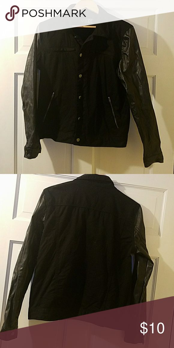 Black jacket EUC, pleather sleeves w/ no flaws. Thin denim body. Rude Jackets & Coats