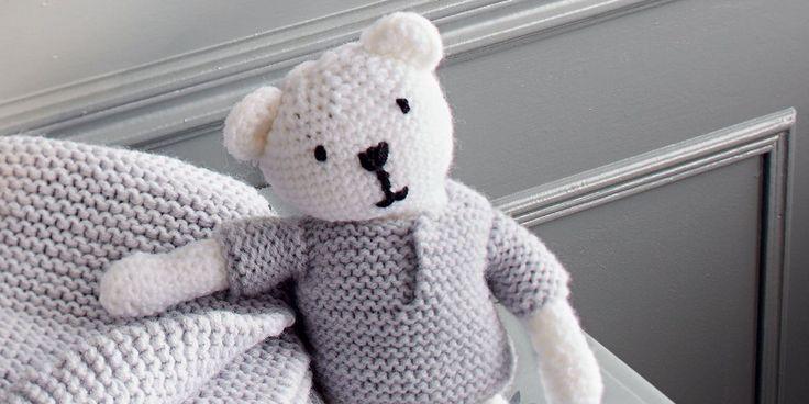 DIY-tricot-ourson : ourson au crochet, pull au tricot