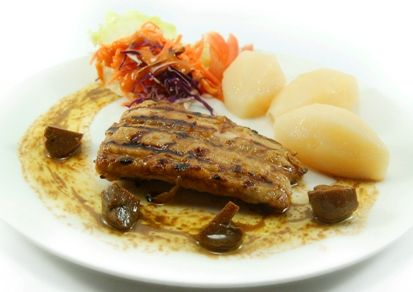 "KAKAP STEAK ""BELLE-MEUNIERE"", grilled red snapper served with sauteed mushroom, coleslaw & boiled potato, in tasty meuniere sauce,"