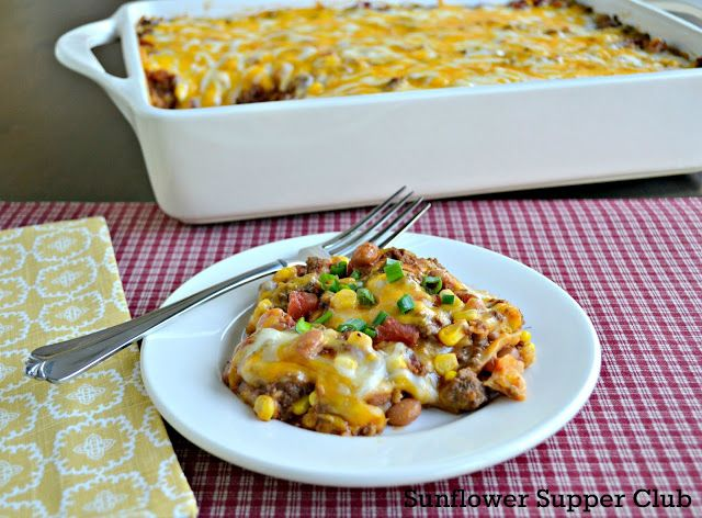 Enchilada Casserole: a great family dinner that can be made ahead of time and then popped in the oven when you're ready to eat. It also freezes beautifully.  |  Sunflower Supper Club