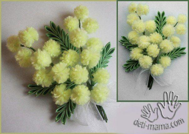 Одуванчики из помпонов - Цветы из ткани и бумаги