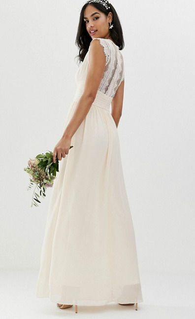 50c2df9d354 Cream colored long maxi dress. Off white bridesmaid dresses with lace back  from ASOS.  affiliate  bridesmaid  bridesmaiddresses  dressesforweddings