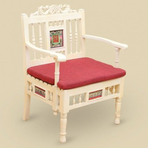 "Teak Wood ""Modern"" Sofa Cum Living Room Chair With Dhokra & Warli Work In Creamish White & Red 