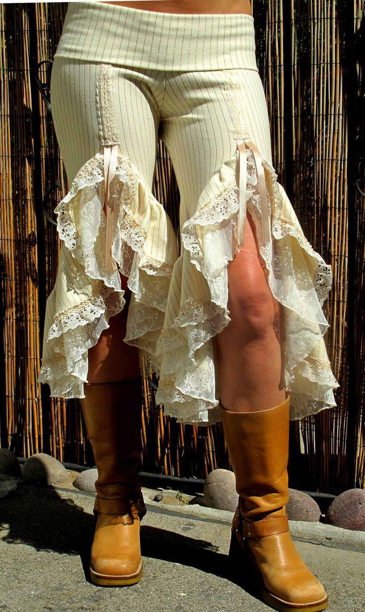 Saloon Girl Pant Double Ruffle Cream w/Gold Pin Stripes Cream Lace Under Ruffle. $120.00, via Etsy.