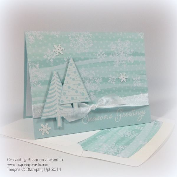 Stampin' Up! ... handmade Christmas card ... monochromatic aqua ... pair of trees embossed in white ... luv the background paper that also lines the envelope ...
