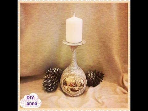 Christmas vintage decoupage candle holder DIY shabby ideas decorations craft tutorial / URADI SAM - YouTube