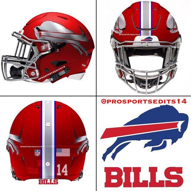 Buffalo Bills Red concept design NFL football helmet