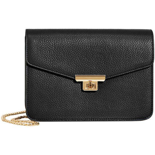 Chain Cross Body Bag ($24) ❤ liked on Polyvore featuring bags, handbags, shoulder bags, chain strap handbag, pebbled leather handbags, mango handbags, cross body and mango purse