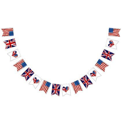 American and British flags Royal Wedding Bunting Flags - blue gifts style giftidea diy cyo